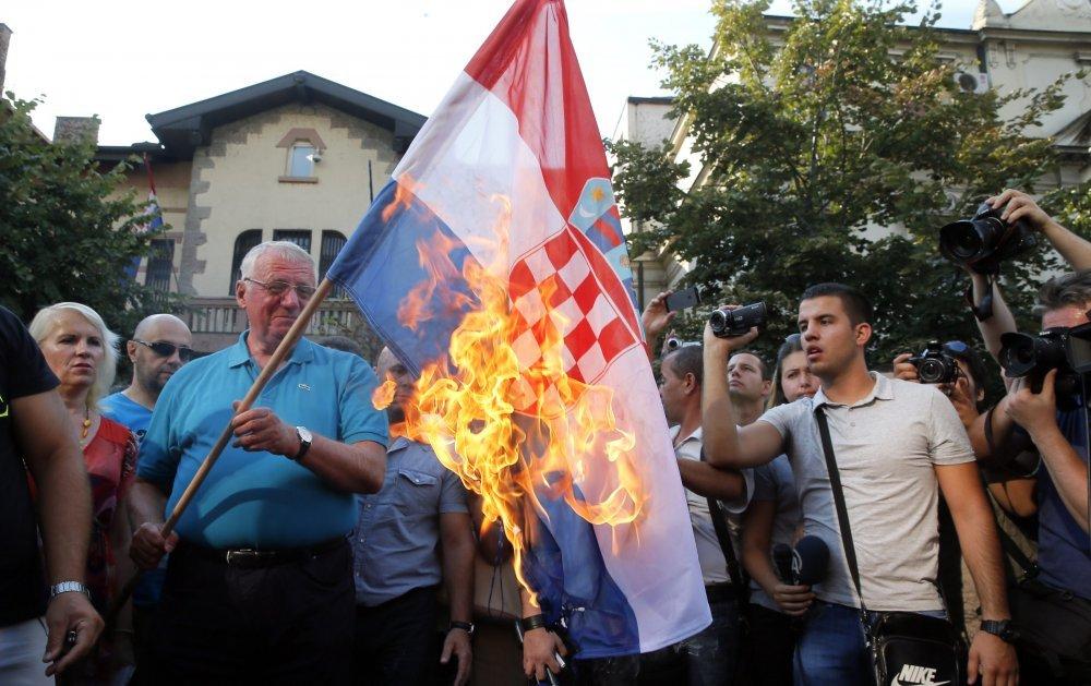 Image result for šešelj hrvatska zastava pocijepana