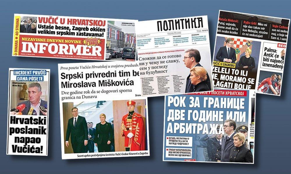 Ovako srpski tisak piše o Vučićevom posjetu Hrvatskoj: Od ustaša ...