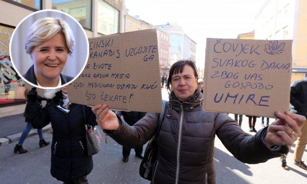 Branka Lukić, predsjednica Saveza društava multiple skleroze Hrvatske; prosvjed podrške Huanitu Luksetiću