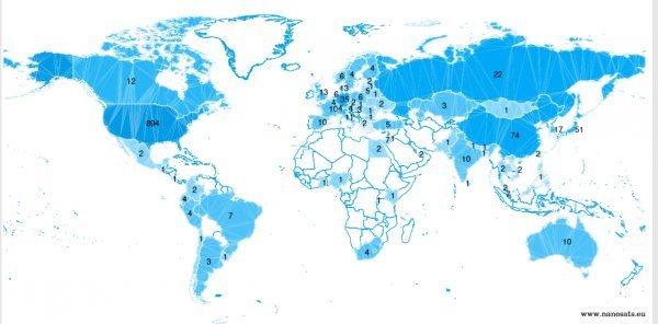 Na karti koju objavljuje Nanosats.eu prikazane su sve zemlje svijeta koje imaju svoje satelite. Hrvatske nema na tom popisu