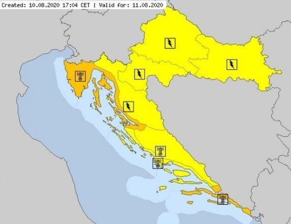 Žuti meteoalarm za veći dio Hrvatske