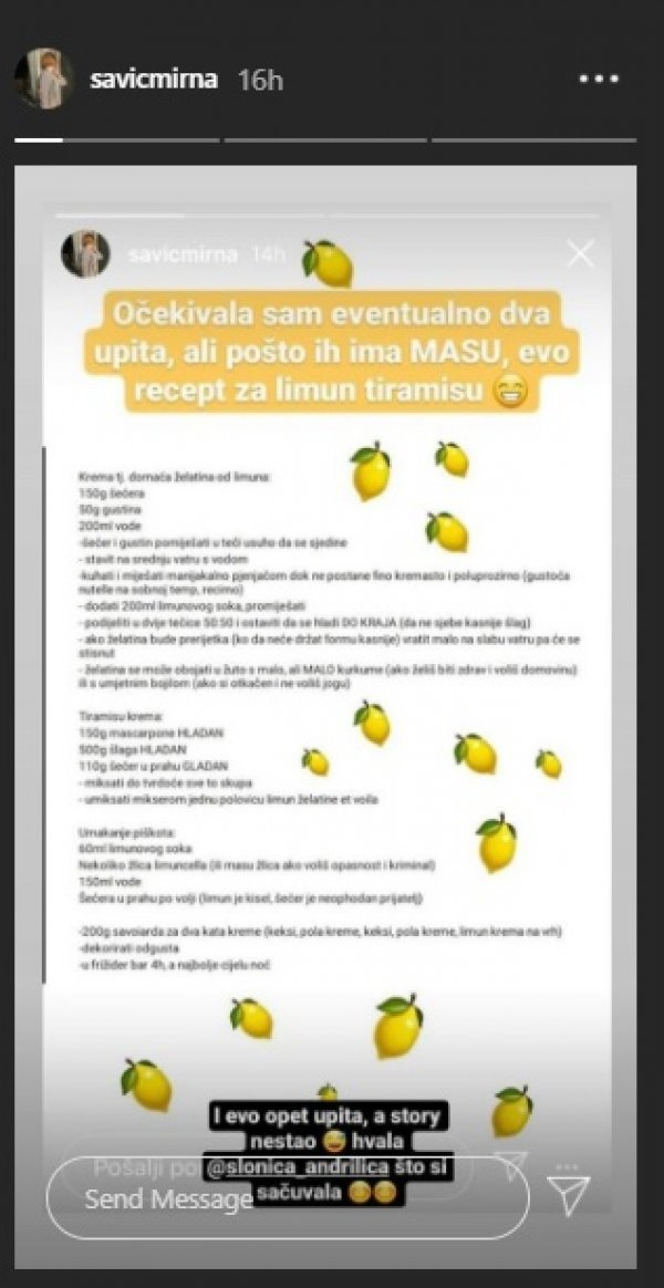 Recept Mirne Savić za limun tiramisu